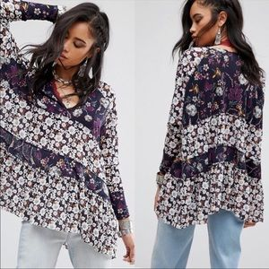 Free People Purple Floral Isabelle Tunic Top Shirt